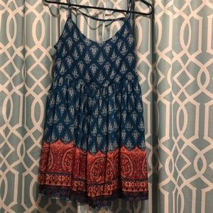Blue and red pattern dress